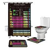 NHSY Juego de 4 cortinas de ducha para mesa periódica, color negro