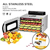 6 Trays Food Dehydrator, All Stainless Steel Dehydrator Raw Food & Jerky Fruit,400W