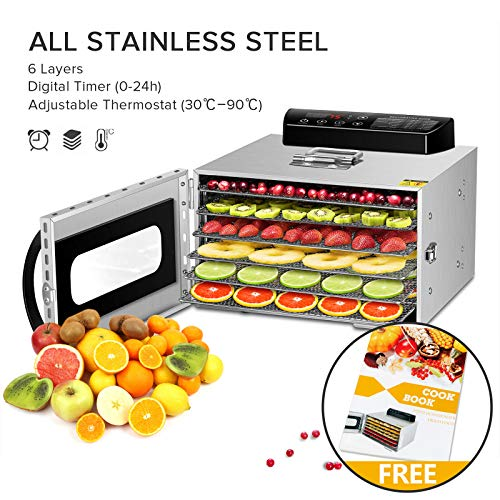 Food Dehydrator, All Stainless Steel Dehydrator Raw Food & Jerky Fruit,400W Preserve Food Nutrition Professional Household Vegetable Dryer, with 0~24 Hours Digital Timer (6 Trays)