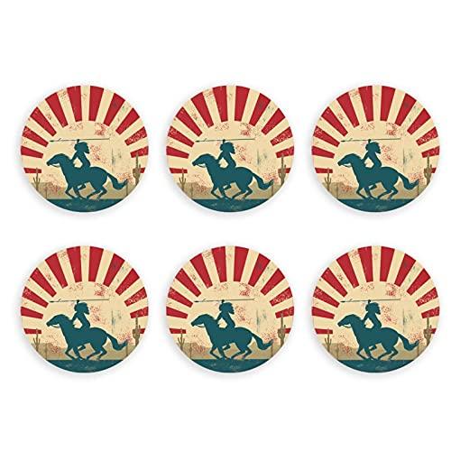 Imán para abrelatas de botellas de caballo de equitación, diseño vintage nativo americano para decoración del hogar, cocina, al aire libre, camper picnic herramienta 6 piezas