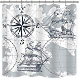 Riyidecor Nautical Sailboat Map Shower Curtain Sketch Pirate Ship Wheel Compass 12 Pack Metal Hooks Kids Anchor Decor Fabric Polyester Waterproof 72Wx72H Inch