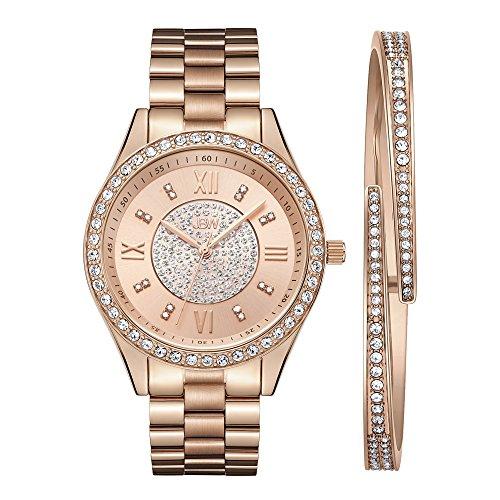 JBW Luxury Women's Mondrian 0.16 Carat Diamond & Swarovski Crystal Stainless Steel Wrist Watch and Bracelet Set