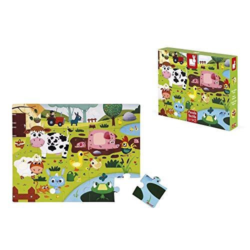 Janod - Puzle Táctil para Niños 20 Piezas - Animales de la Granja - Desde 2 años (J02772)