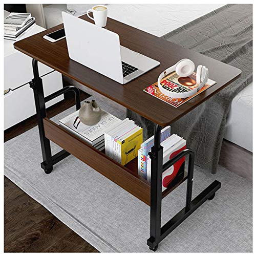 Side Table Portable Laptop Computer Stand Desk Notebook Lap Table Overbed Height-adjustable Office Notebook Stand Study Writing Table (Color : Black oak)