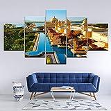 WMWSH Moderne Design Home Dekorative Wandbild Hotelauswahl In Jaipur Hd Gedruckt Vlies Leinwandbild Wohnzimmer Bilder 5 Panel Wandkunst Modulare Poster Dekoration