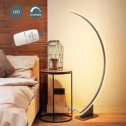 JWWS LED Mit Dimmbare Fernbedienung Stehlampe, 52W Stehleuchte Nachttischlampe, Modern Bogenlampe, Schlafzimmer Bogenleuchte, Für Wohnzimmer Bar Büro Wohnheim Restaurant, Braun