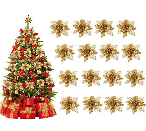 Xndryan Flores de árbol de Navidad, 16 piezas de flores artificiales con purpurina de 5.9 pulgadas doradas para decoración...