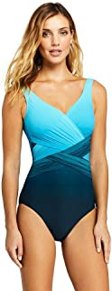 2bd3fd3764 Lands  End Women s Slender Wrap One Piece Swimsuit with Tummy Control Print