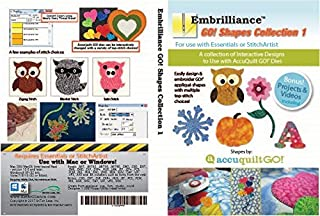 Embrilliance Accuquilt Go! Collection 1 for Essentials & StitchArtist Embroidery Software for MAC & PC