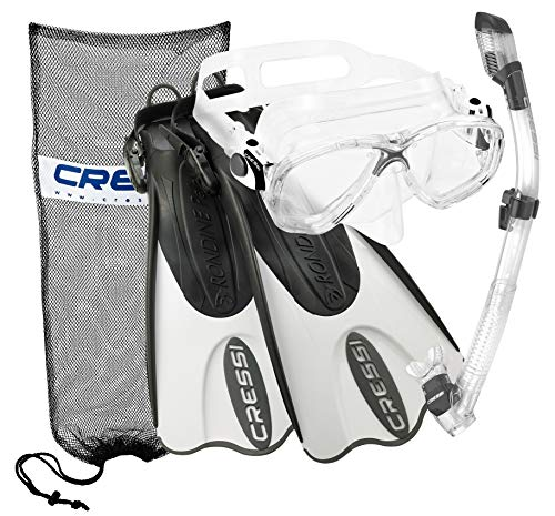 Cressi Italian Collection Palau Adjustable Mask Fin Snorkel Set with Snorkel Gear Carry Bag, Bianca - SM/MD