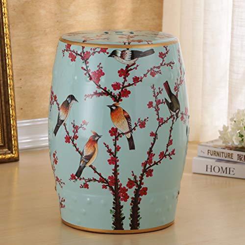 WLL- Kinderstoelen Nieuwe Chinese Stijl Schoen Bench Flower Bird Keramische Antieke Kruk Drum Porselein Kruk Klassieke Dressing Kruk (46x28cm)