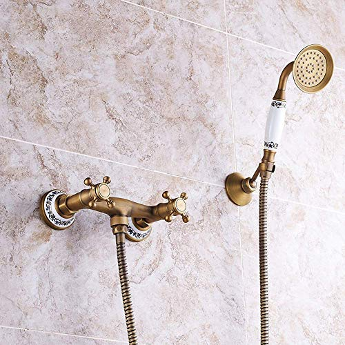 LHQ-HQ Europeo antiguo ducha bronce baño ducha conjunto cobre caliente y frío sobrealimentado mano sistema cerámica retro 2 función con grifo ducha fija