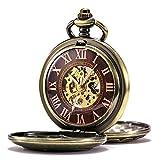 TREEWETO Reloj de bolsillo mecánico antiguo para hombre y mujer, caja de bronce, con números romanos