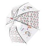 Paraguas Transparentes,Unicornio Claro Paraguas para niños Chicos, Chicas,Paraguas Abierto Auto A...