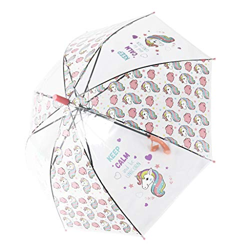 Paraguas Transparentes,Unicornio Claro Paraguas para niños Chicos, Chicas,Paraguas Abierto...
