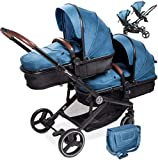 babyGO Cochecito 3 en 1 para gemelos – Cochecito de hermano para bebés – Cochecito gemelar/cochecito doble para 2 niños con muchos accesorios (azul jaspeado sin capazo)