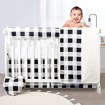 Brandream Patchwork Nursery Bedding White Black Baby Crib Bedding Buffalo Plaid Neutral Blanket Set 5 Piece