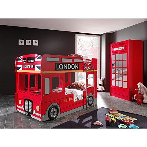 Paris Prix - Pack - Lit Superposé Enfant Bus & Armoire 2 Portes Cabine Londres Rouge