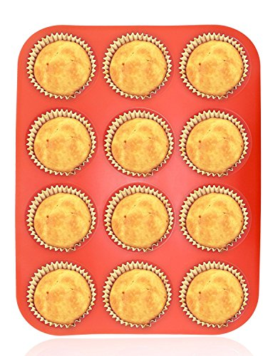 Silicone Muffin Pan 12 Cups, Amison Cupcake Baking Pan/Tray, Non-Stick Silicone Mold, Dishwasher - Microwave Safe (12 Cups, Red)