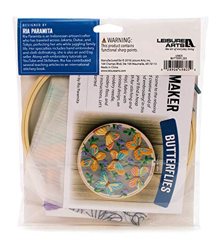 Leisure Arts Mini Maker Embroidery Kit, Transluscent Organza
