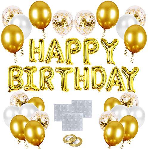 O-Kinee Ballons Anniversaire Doré, Décoration Anniversaire , Or Confettis Ballons, Doré étoile...