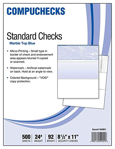 500 Blank Check Stock - Check on Top - Blue Marble