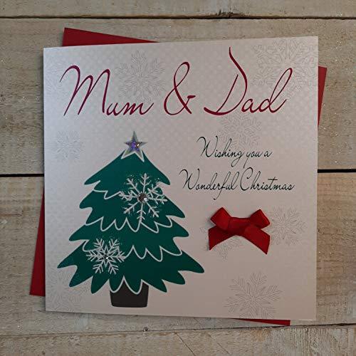 White Cotton Cards Mum and Dad diseño con texto Wishing You a Wonderful Christmas tarjeta hecha a mano en forma de árbol