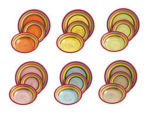 Villa d'Este Home Tivoli Sombrero Vintage Servizio Piatti, 18 Pezzi, Gres, Multicolore, 30x30x25 cm, unità