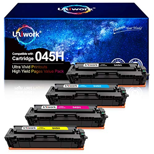Uniwork Compatible Toner Cartridge Replacement for Canon 045 045H Cartridge 045 CRG-045H for Color imageCLASS MF634Cdw MF632Cdw LBP612Cdw MF632 MF634 Laser Printer Toner Ink, 4 Pack