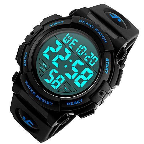 K.K.C スポーツウォッチ デジタル腕時計 アラーム ストップウォッチ LEDライト バックライトモード 切り替え自由 (ブルー)