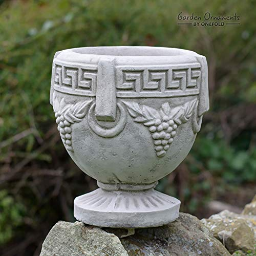 ONEFOLD - STONE GRAPE VASE POT PLANTER URN Garden Ornament/Home Patio Conservatory Decor