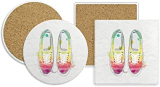 Colorful Hand Painted Canvas Shoes Pattern Coaster Cup Mug Holder Absorbent Stone Cork Base Sets