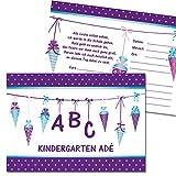 Kreatives Herz - ABC Einladungskarten zur Einschulung (10er Set - A6) für Mädchen Einladungen Schulanfang Kinder Party 1. Schultag Schultüte Zuckertüte LILA (10 Karten)