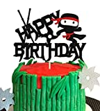 KAPOKKU Ninja Cartoon Cake Topper Happy Birthday Video Game Theme Decor for Baby Shower Birthday Boys Party Decorations Supplies