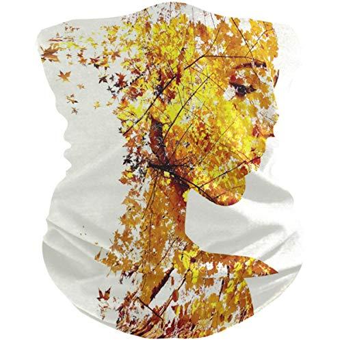 N / A Respirable Pasamontañas,Deportes Cuello Pañuelo,Verano Bufanda Facial,Halloween Sombreros,Retrato De La Hoja De Arce Chica Pasamontañas De Otoño Headwrap, 25X50Cm