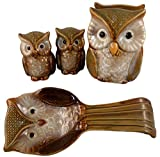Ceramic Owl Kitchen Set - Spoon Rest, Salt and Pepper Shakers, and Napkin Holder (Green)