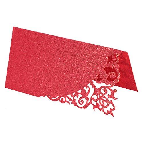 YeahiBaby - Tarjeta de mesa para nombre, marca de Plaza, boda, corazón y pájaro, decoración de mesa, 50 piezas, color rojo