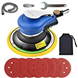 Air Random Orbital Sander, Pneumatic Palm Sander, 6-Inch Sander with Dust Bag by Autolock, Sandpapers Low Vibration and Heavy Duty for Wood, Composites, Metal, 2021 Upgraded Version
