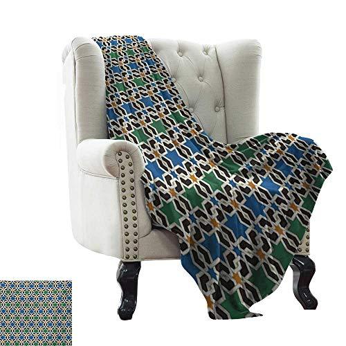 Manta para Gato marroquí, patrón geométrico Hexagonal Estrellas Estilo asiático Antiguo Oriental Zellige Art, Verde Azul Negro Manta de Franela Cama (Ligero, Super Suave) 60 x 78 Pulgadas