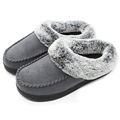 ULTRAIDEAS Women's Cozy Memory Foam Moccasin Suede Slippers with Fuzzy Plush Faux Fur Lining, Ladies' Slip on House Shoes with Indoor Outdoor Anti-Skid Rubber Sole,Dark Gray,5-6