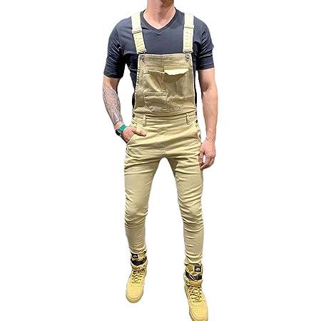 Men Dungarees Jumpsuits Denim Trousers Moto Biker Jeans Casual Retro Combat Cargo Bib Overalls (S, Khaki)