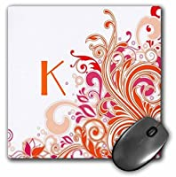 3drose文字K On PrettyピンクNオレンジ渦巻き–マウスパッド、8× 8インチ(MP 62518_ 1)