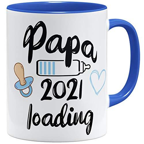 OM3 Papa Loading 2021 - Tazza in ceramica, 325 ml, con stampa su entrambi i lati, colore: Blu reale