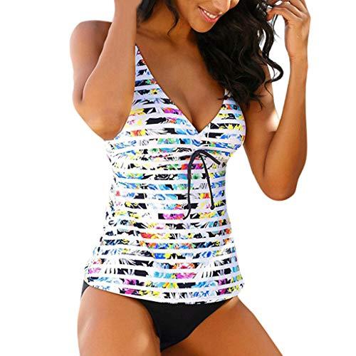 Rosennie Damen Bauchweg Bikini Set Push Up Badeanzug Bikini Set Tankini mit Hotpants Zweiteilig Streifen Oberteil + Slip, Schwarz, 3XL