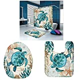 DERCLIVE Cortina de Ducha Impermeable 4pcs / Set Juego de Alfombrillas Antideslizantes de impresión Digital con 12 Ganchos para baño