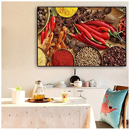 JinYiGlobal Löffel Körner Gewürze Pfeffer Poster und Drucke Restaurant Leinwand Bilder Wandkunst Bild für Küche Raumdekor 50x70cm (19.7