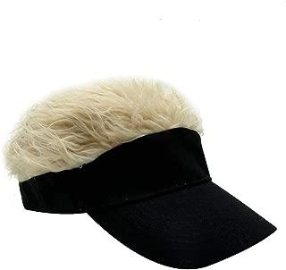 Men's Novelty Adjustable Visor Wig Skull Turban Cap Knit Hip Hop Hat (Black K)