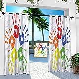 Aishare Store Cortina de patio para exterior impermeable, abstracta, huellas a mano, color paz, 100 x 84 pulgadas, aislamiento térmico, privacidad para balcón (1 panel)