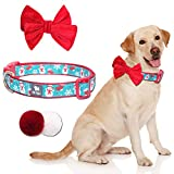 Pet Rejoir Christmas Dog Collar– Cute Holiday Dog Collars with Detachable Bow Tie & Faux Fur Balls– Snowman & Snowflake Festive Dog Collar– Neck 19~25' Adjustable Pet Collar for Large Dogs