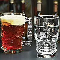 Verre en cristal de 500 ml avec tête de mort et poignée pour boire du vin, de la vodka ou du kTV Cette tasse crâne est une tasse à bière avec une poignée. La tasse à bière en forme de crâne, soulevez le « crâne », versez dans la bière jaunâtre, fine ...